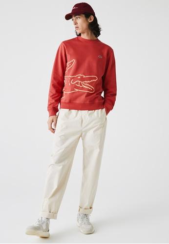Lacoste red Men's Crocodile Print Organic Cotton Fleece Sweatshirt 8C75EAACCC4E60GS_1