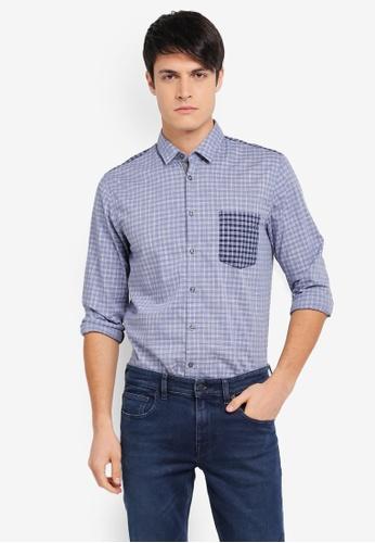 BOSS 藍色 Cattitude Shirt - Boss Casual BO517AA0SRB5MY_1