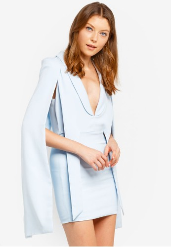 Lavish Alice blue Gathered Tie Waist Cape Dress C19E7AAF102ED2GS_1