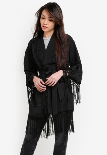 Miss Selfridge black Embroidered Tassel Kimono MI665AA83RUIMY_1