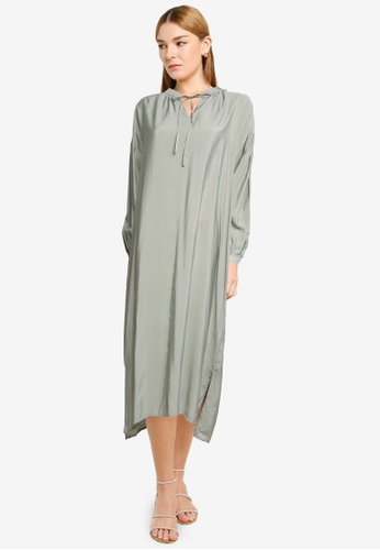 LOWRYS FARM green Ruched Midi Dress with Tie Collar A5121AA7DD5520GS_1