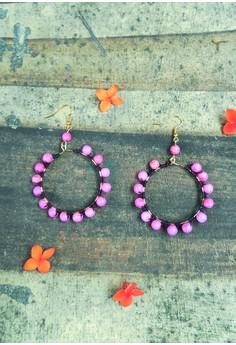 Pink Knotted Large Hoop Earrings