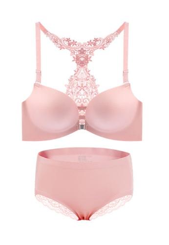 ZITIQUE pink Women's European Style Lace Lingerie Set (Bra And Underwear) - Pink 5056AUS03ABD77GS_1