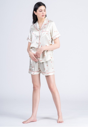 FEMINISM gold Silk Shortsleeve Shorts 1D0CFAA3643035GS_1