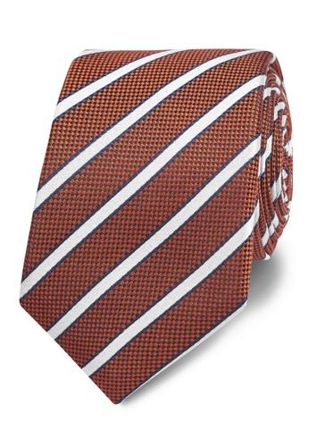 T.M. LEWIN orange T.M.Lewin Orange Textured Stripe Silk Slim Tie 468D2ACEEDE94CGS_1