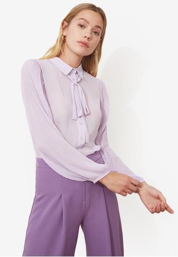 Trendyol purple Tie Collar Detail Blouse 44E9FAA5942486GS_1
