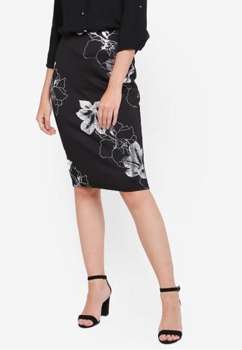 0447fa0033262a Dorothy Perkins black Black Foil Floral Pencil Skirt 7BD22AAC6F0BE0GS_1