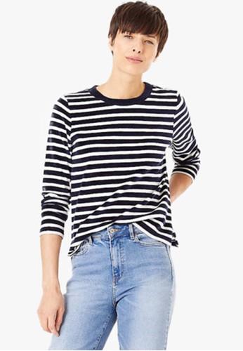 MARKS & SPENCER navy Velour Striped Sweatshirt 7C37CAA0924970GS_1