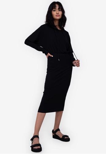 ZALORA BASICS black Rib Hooded Dress 0396DAA5AF550EGS_1