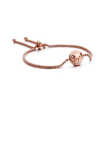 Glamorousky white Simple Fashion Plated Rose Gold Twelve Constellation Virgo Round 316L Stainless Steel Bracelet with Cubic Zirconia A35ABACAC9C13FGS_1
