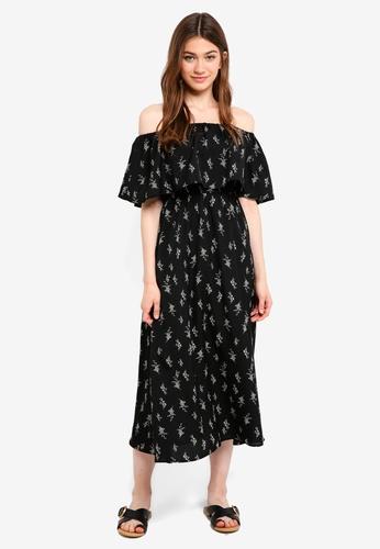 Something Borrowed black Off Shoulder Midi Dress 1B85FAA7B8E5EAGS_1