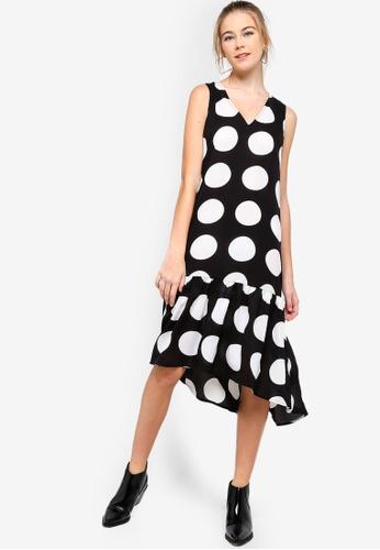 Something Borrowed black Midi Ruffled Hem Dress 8F97AAA3EE518FGS_1