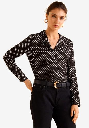 Mango black Satin Print Shirt B43C0AAF4A14ACGS_1