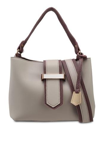 Unisa grey Colour Block Convertible Top Handle Bag 5FA1AAC6A02F54GS_1
