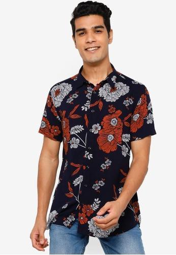 KOTON blue Short Sleeves Printed Shirts 50347AABFE9E16GS_1