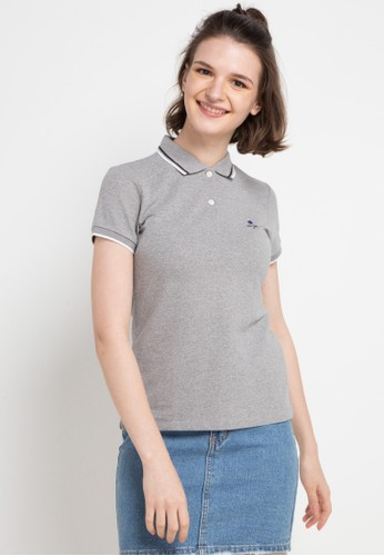 Giordano grey Classic Women Embroidery Polo 34686AA52DA4CCGS_1