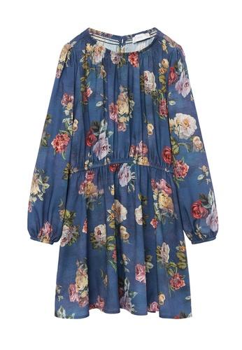 MANGO KIDS blue Flower Print Dress 7A7FEKAF5C505FGS_1
