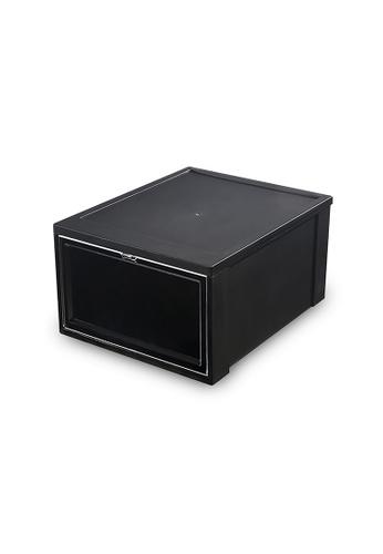 HOUZE black SoleMate - Stackable Drop Lid Shoe Box - Fits: Size 45 (Pack of 2) D54EFHL267C255GS_1