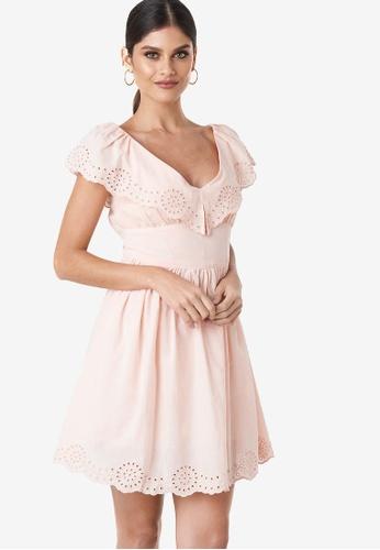624dd5e3211c Buy NA-KD Co-Ord Broderie Anglaise Ruffle Dress Online | ZALORA Malaysia