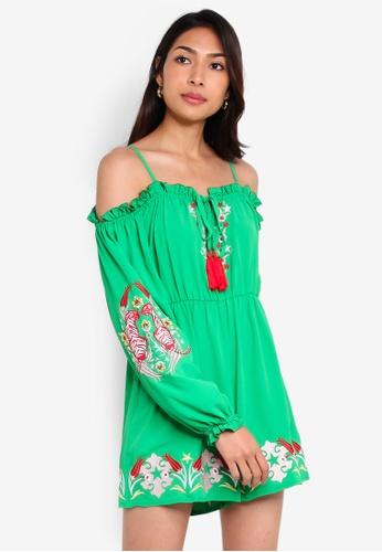 Glamorous 綠色 長袖挖肩 荷葉飾連身短褲 B2567AA4E261D4GS_1