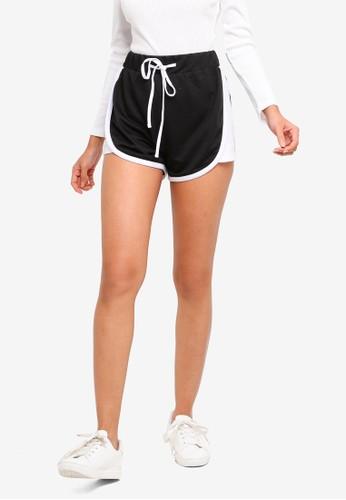 ZALORA BASICS black and white and multi Basic Lounge Shorts With Contrast Binding AC2FDAA6131388GS_1