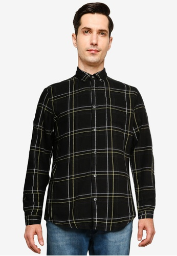 Only & Sons black Eamon Long Sleeve Checked Shirt 31632AA4556D5FGS_1