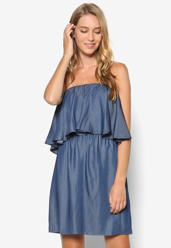 層次露肩連身裙, 服飾,京站 esprit 洋裝