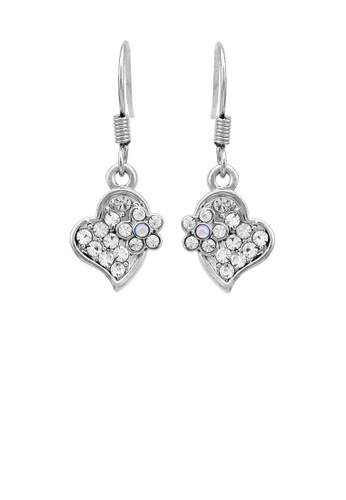 Glamorousky silver Lovely Flower Earrings with Silver Austrian Element Crystal 935C9ACE89443BGS_1