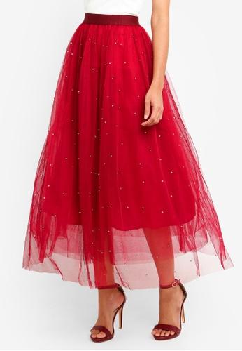 0da90746c4 Megane purple Red Romance Pierrette Beaded Tulle Skirt 57452AA4E35E6EGS_1