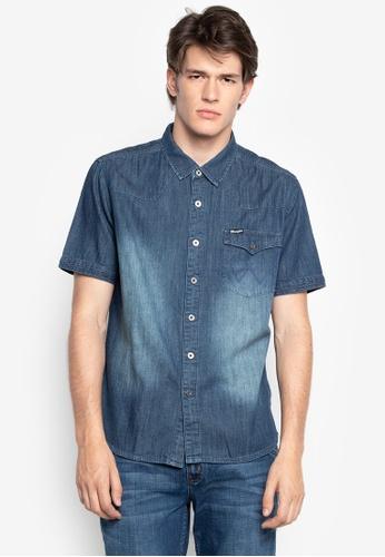 ec012c300f48f8 Wrangler blue Button Down Short Sleeves Shirt in Faded Denim  0876AAAB802B4BGS 1