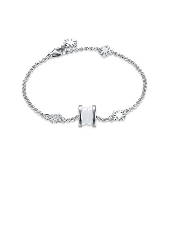Glamorousky white 925 Sterling Silver Elegant Fashion Flower Adn Prayer Wheel Bracelet with White Ceramic 7A123ACDF31584GS_1