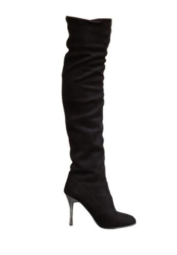 Twenty Eight Shoes 黑色 電鍍幼高跟過膝靴 VB809 A7D0BSHD4E2BFDGS_1