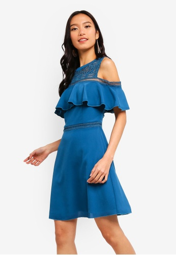 ZALORA 綠色 Cold Shoulder Fit And Flare Dress 6D86BAA9384E1FGS_1