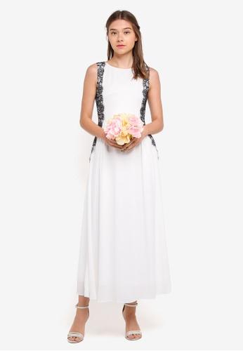 ZALORA white Bridesmaid Lace Panelled Side Maxi Dress EAC48AA0BF6FEFGS_1
