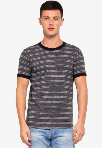 UniqTee grey Striped Tshirt With Contrast Neck And Cuff D596DAAB41E62DGS_1