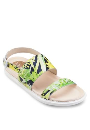 Maesprit童裝門市e 花卉印花寬帶繞踝涼鞋, 女鞋, 鞋