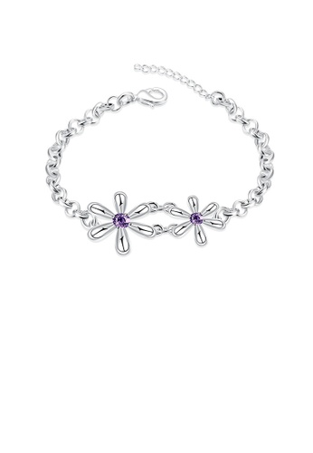 Glamorousky purple Fashion Simple Flower Purple Cubic Zircon Bracelet 82C83AC07035EEGS_1