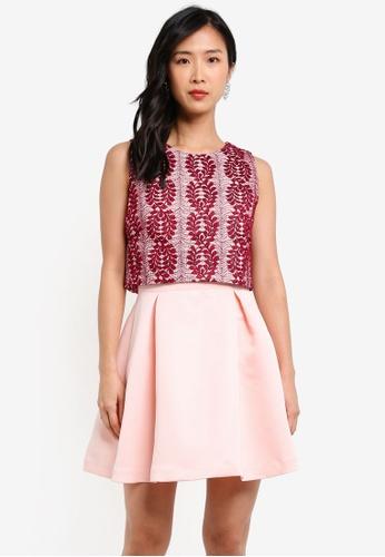 ZALORA red Double Layered Mini Dress 7D6F0AACE48348GS_1