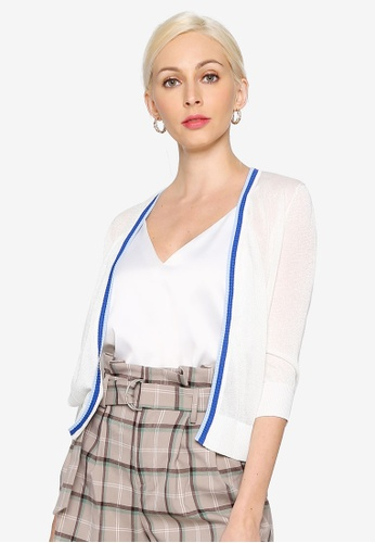 Hopeshow white Open Front Short Cardigan with Stripe Detail 18618AA9991D38GS_1