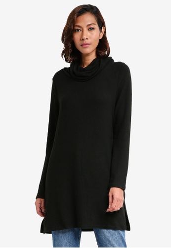 Dorothy Perkins black Brushed Cowl Neck Tunic Top 2A927AA6BBB21AGS_1
