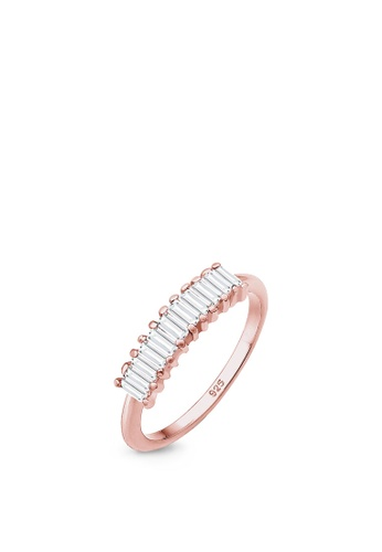 ELLI GERMANY pink Elli Germany Ring Geo Rectangle Topaz Gemstone Fashionable Sterling Silver 32921AC728738AGS_1