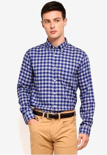 Brooks Brothers 海軍藍色 長袖格紋襯衫 67973AA558A9D8GS_1
