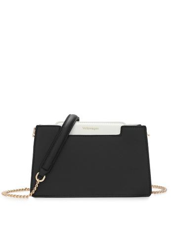 Volkswagen black Faux Leather Chain Sling Bag 9E4CAACB9E4EDCGS_1