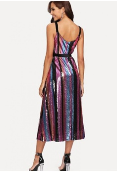 906de268423 50% OFF LOVENGIFTS LOVENGIFTS Rainbow Stripe Sequin Cami Wrap Party  Ballroom Dinner Dress RM 359.80 NOW RM 179.90 Sizes L