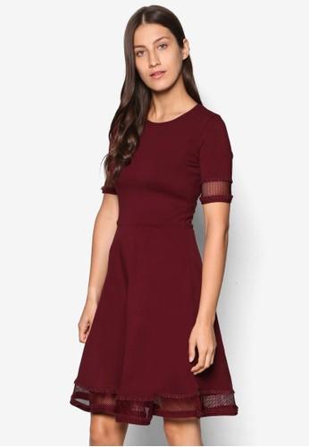 網眼蕾絲拼接短袖洋裝, esprit地址服飾, 洋裝