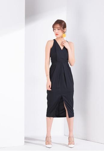 Zafiti black Split Midi Dress A1987AAFCA892CGS_1