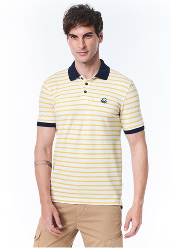United Colors of Benetton yellow Striped Polo Shirt 769A2AA1131F46GS_1