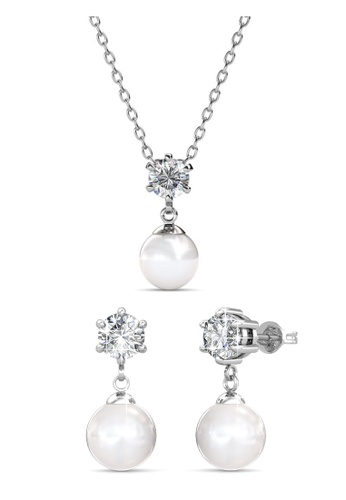 Her Jewellery silver Swarovski® Crystals - Pauline Set (18K White Gold Plated) Her Jewellery HE581AC0RB18MY_1
