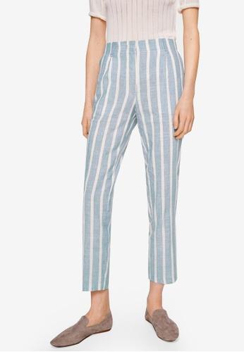 Mango blue Striped Linen-Blend Trousers 9B6D2AAD7F7410GS_1