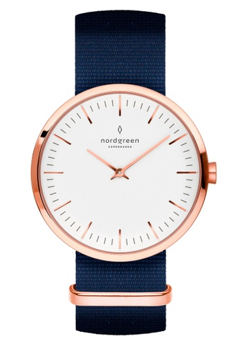 Nordgreen blue and gold Nordgreen Infinity Rose Gold 40 mm - Nylon Watch 7C588AC70FF18FGS_1